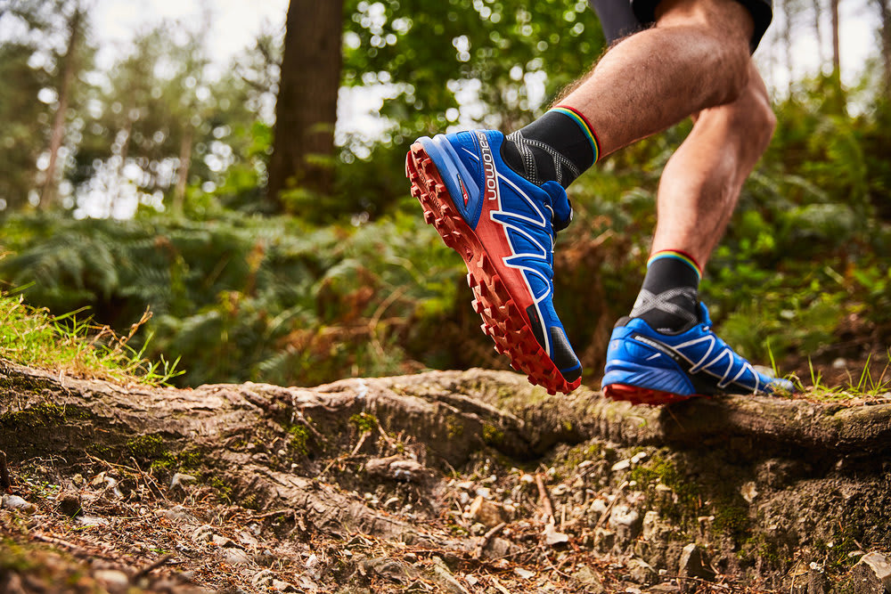 Blue trail running shoes heel counter