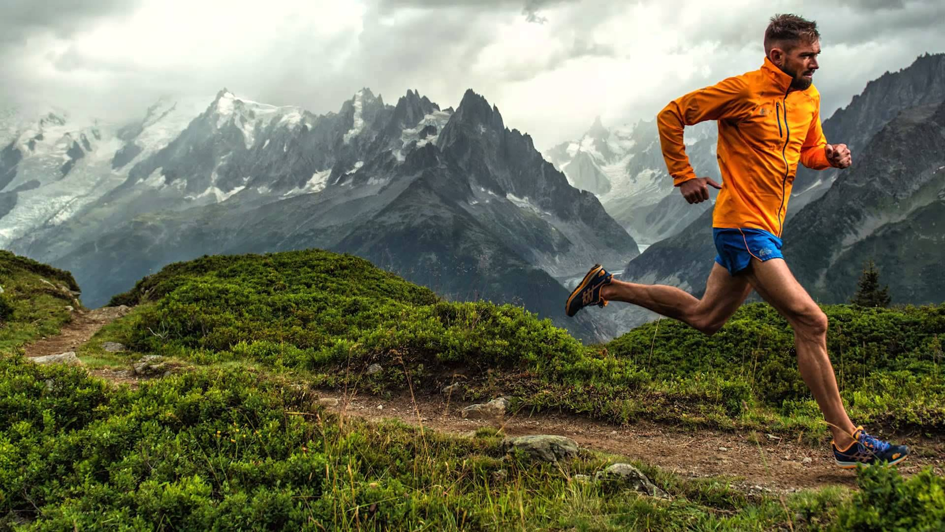 Man running at the mountains