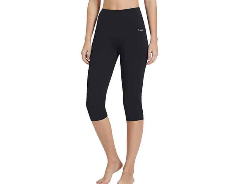Baleaf Women's High Waist Yoga Capri Leggings Tummy Control Non See-through Fabric