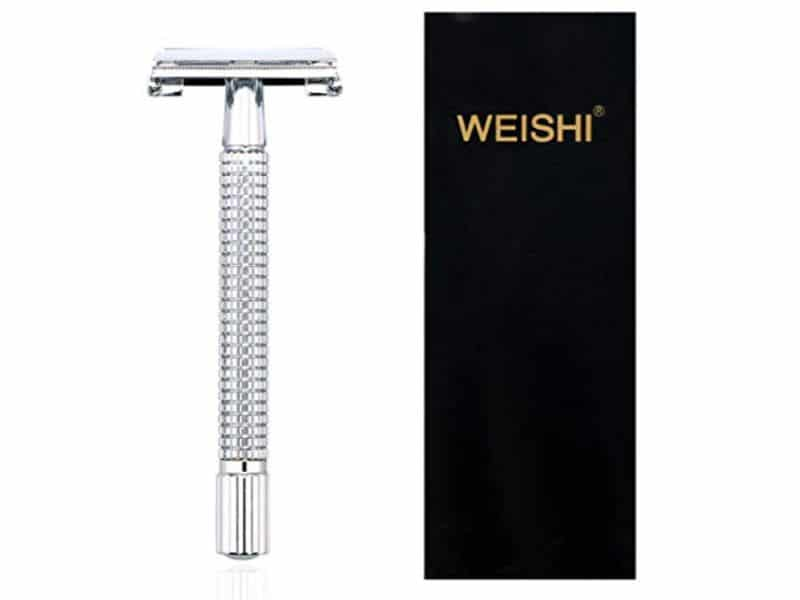 Weishi Chrome Long Handle Butterfly Open Double Edge Safety Razor