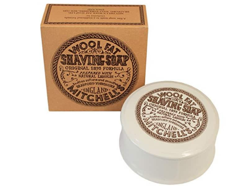 Mitchell's Wool Fat Shaving Soap with Ceramic Dish