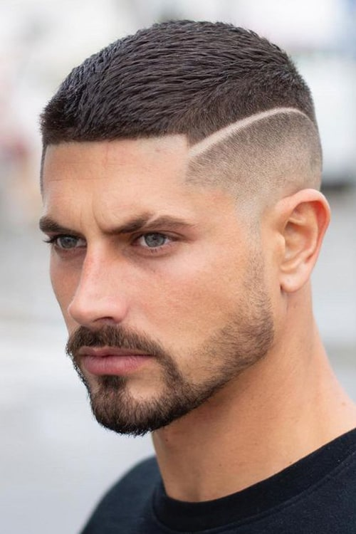 Man with Fine Hard Part and Short High Fade