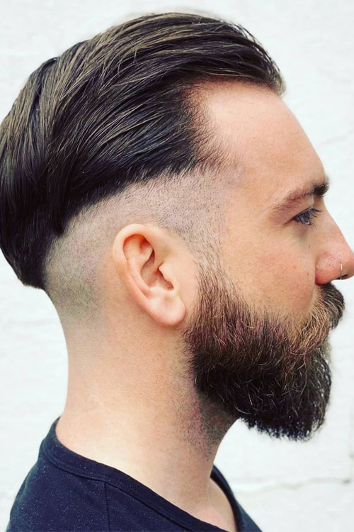 Man with Shaved sides hairstyle