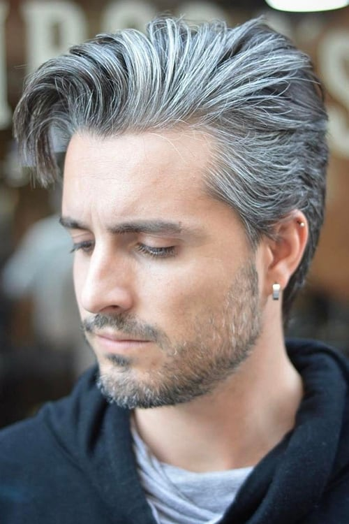Man with asymmetrical hairstyle