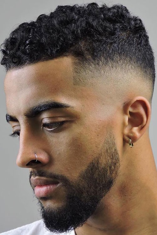 Man with Short Curly Top and Fade + Side Part hairstyle