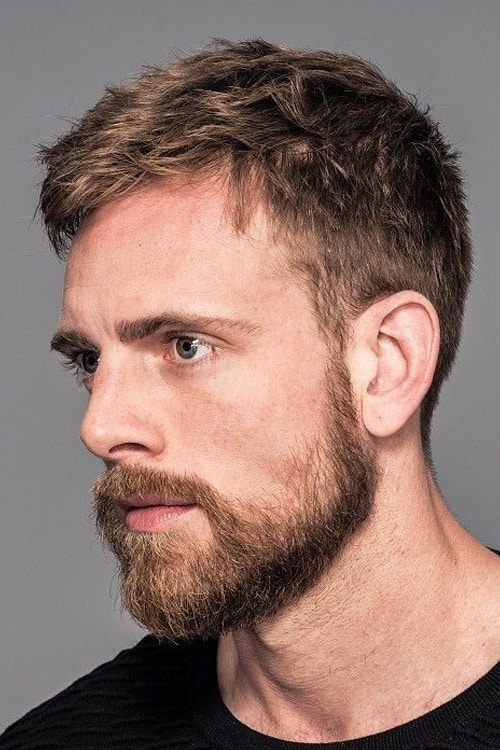 Man with short and choppy hairstyle
