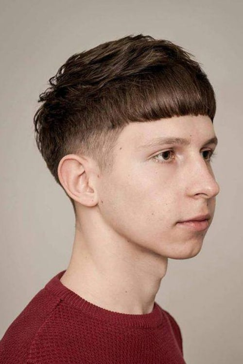 Man with Short Crop + Cowlick hairstyle