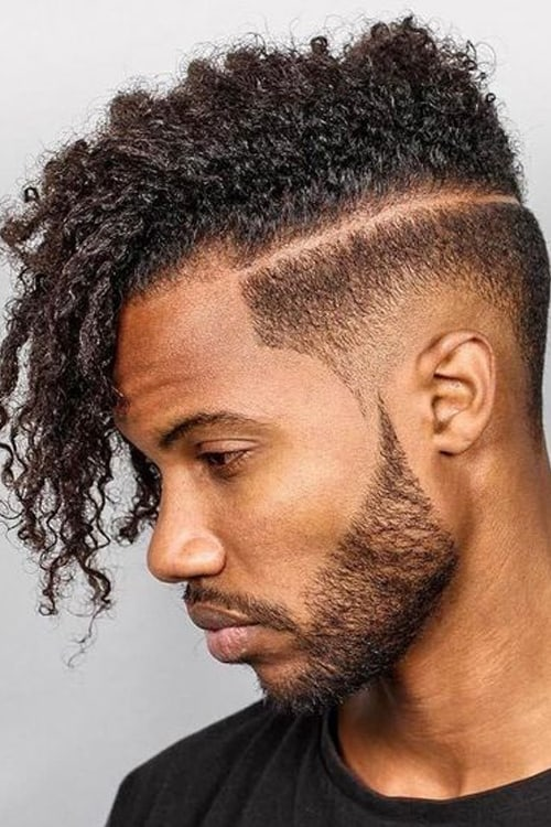 Man with Razor up-sweep mohawk hairstyle