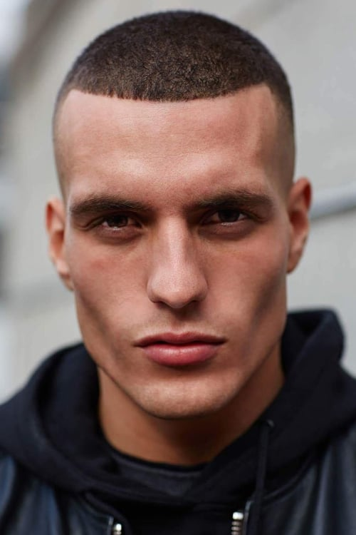 Man with Buzz Cut and Shape Up + High Fade
