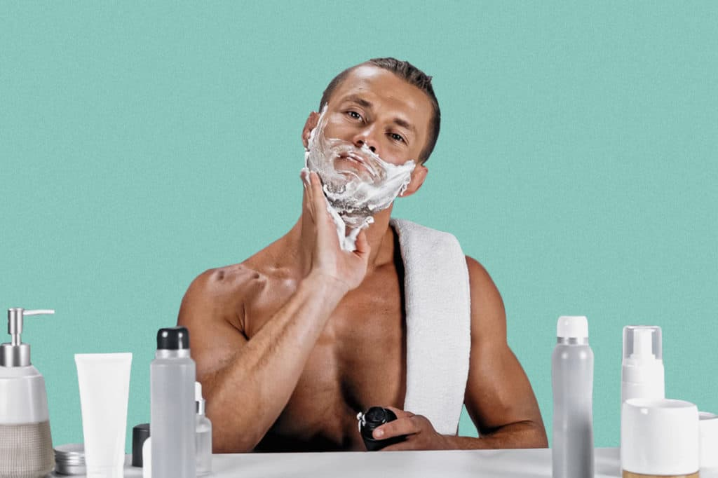 Mans using best shaving cream