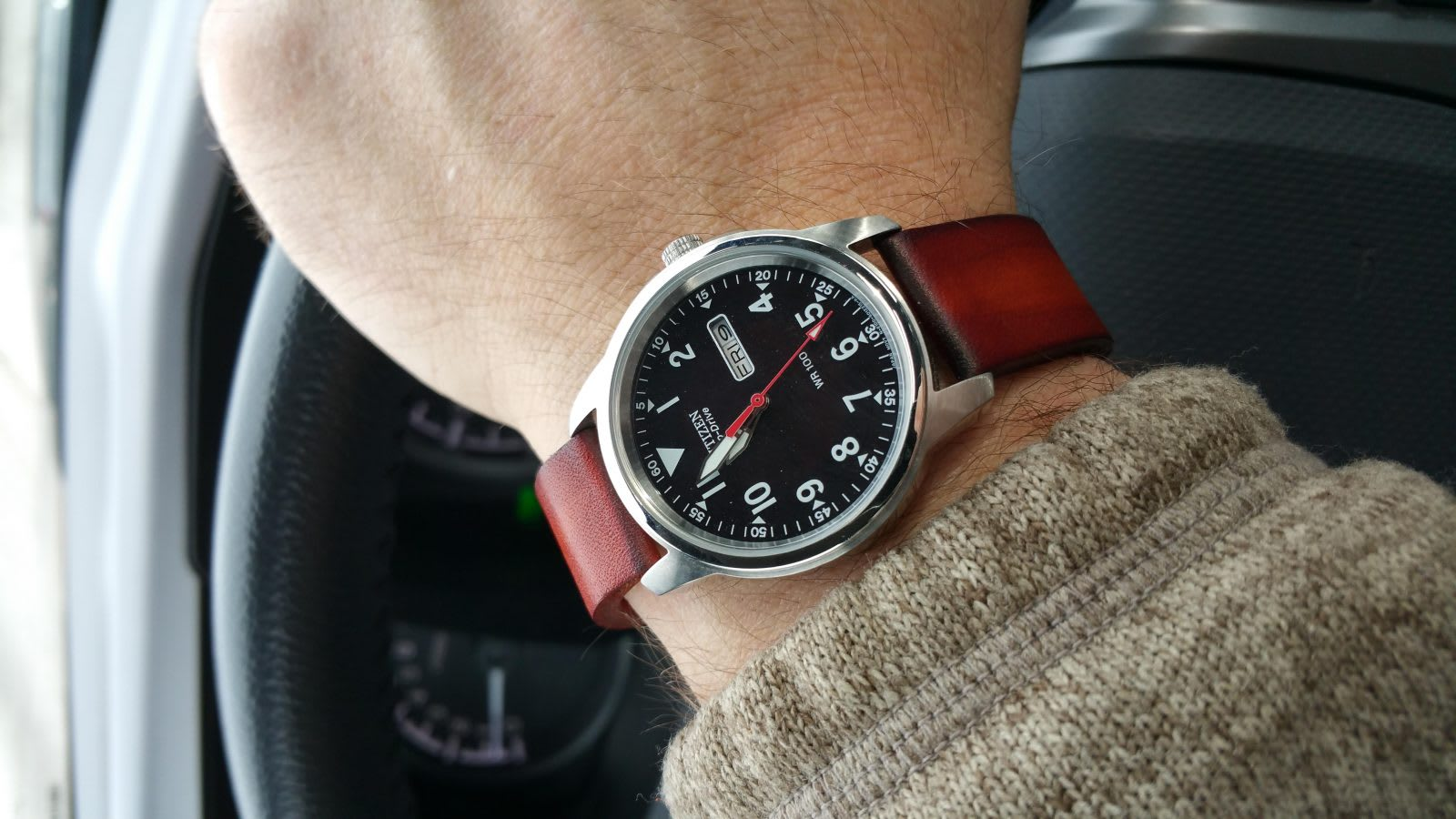 Citizen watch with brown strap