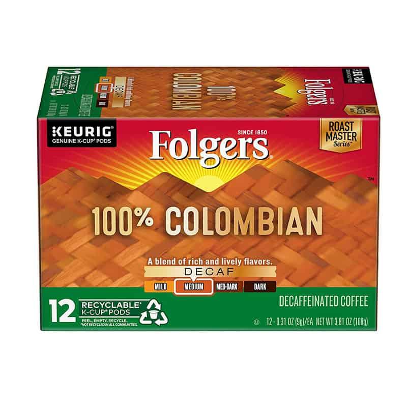 Folgers 100% Colombian Decaf Medium Roast Coffee