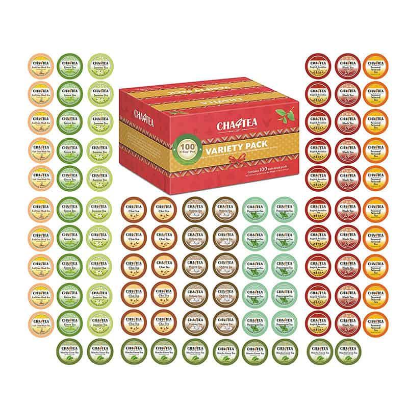 Cha4TEA 100-Count Variety Tea Sampler Pack for Keurig K-Cup Brewers