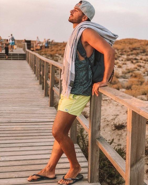 Man wearing flip flops on summer