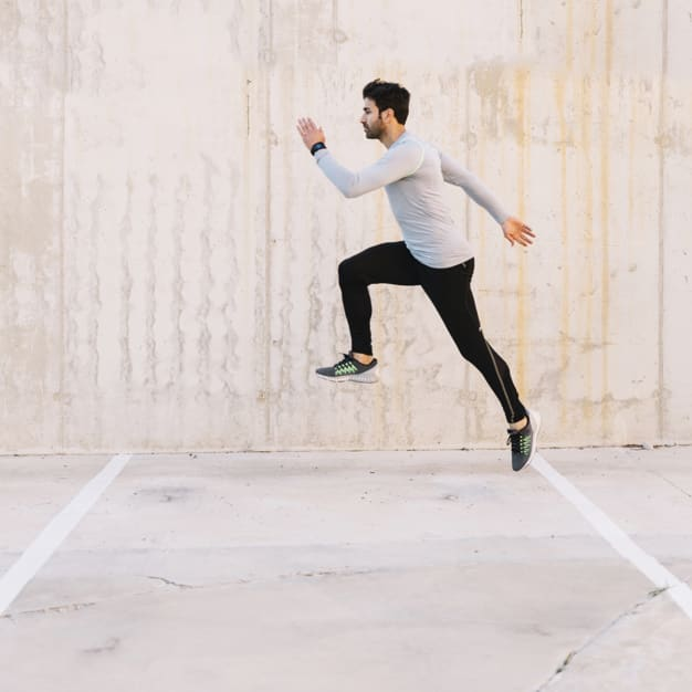 Man wearing a spandex running shirt