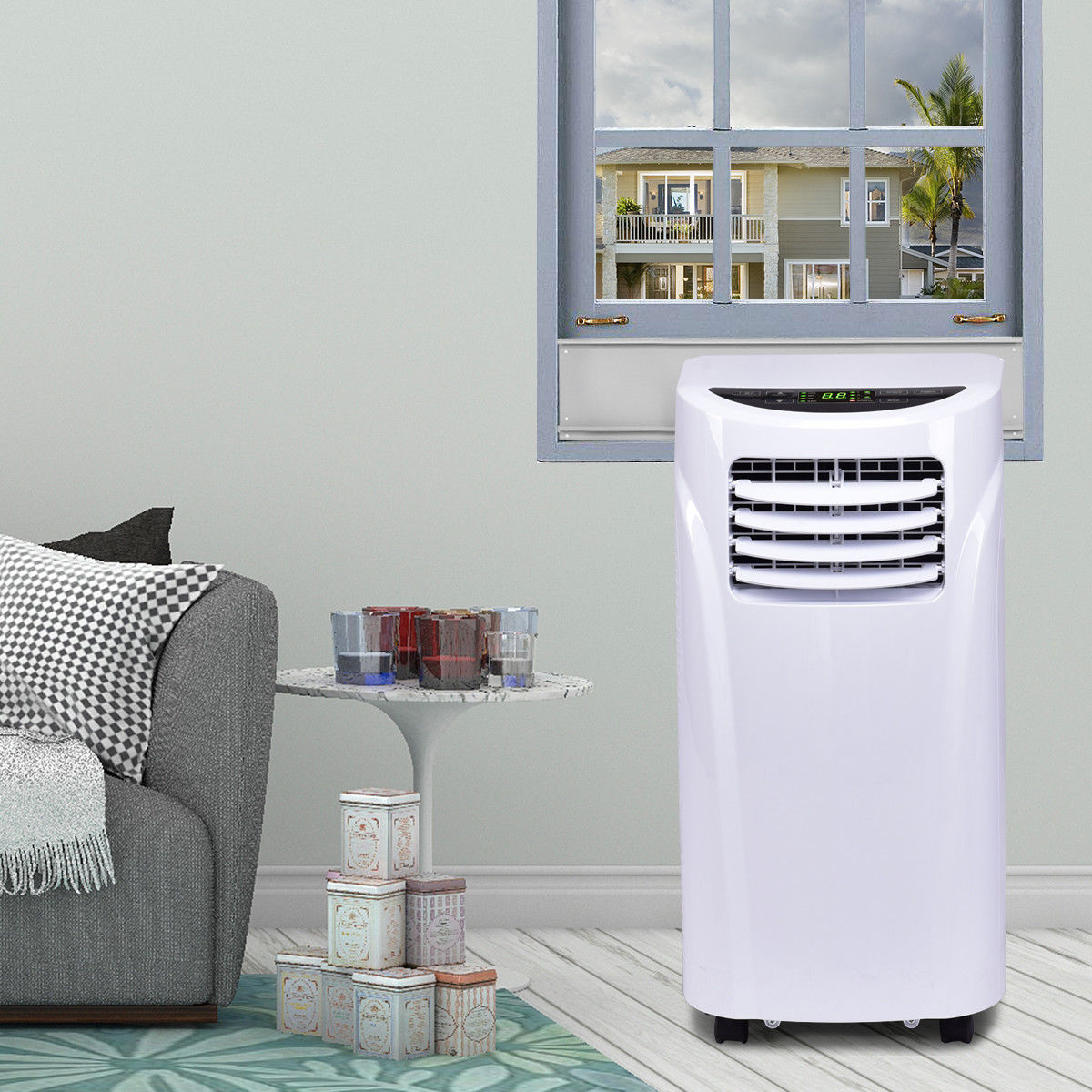 portable air conditioner in a single room