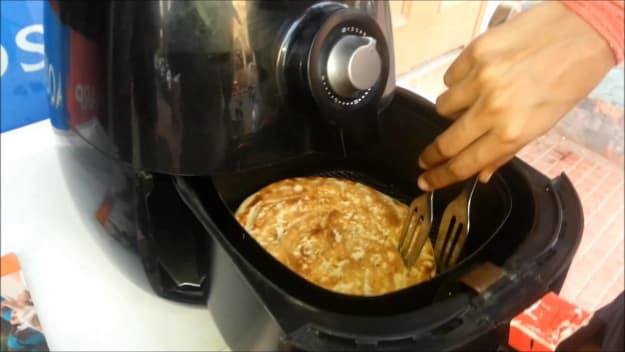 cooked food in an air fryer