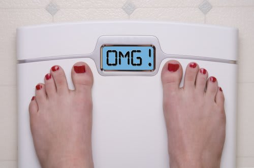 """omg"" on a bathroom scale"