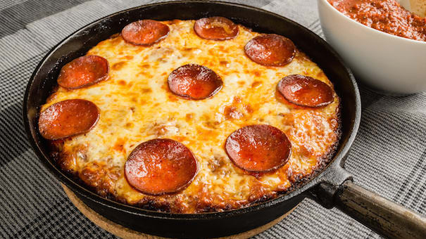 pizza on a skillet