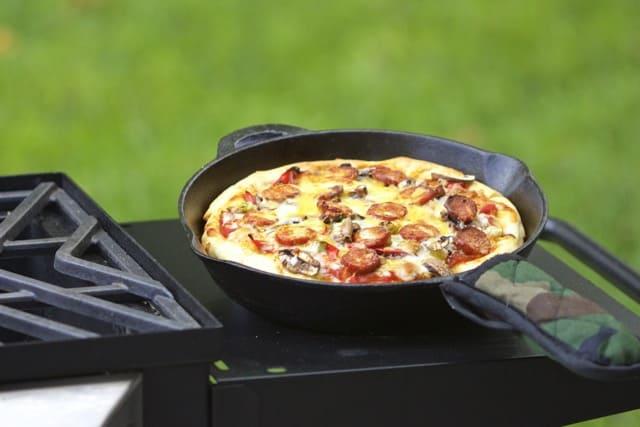 pizza on a non-stick skillet
