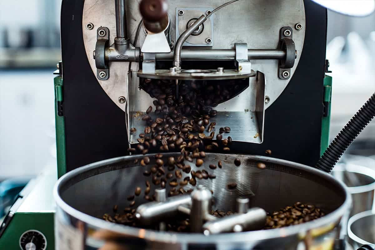 coffee machine processing coffee beans