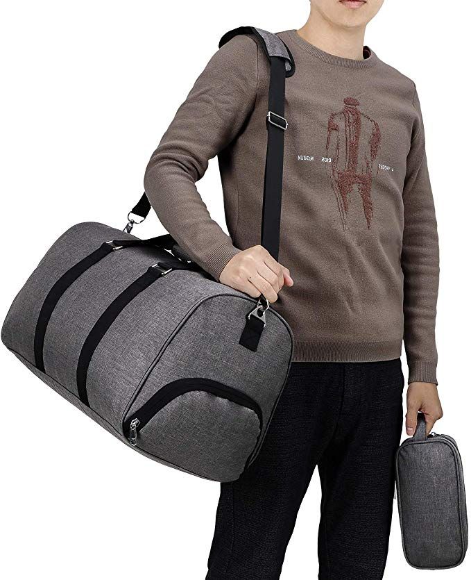 man with a gym bag on his shoulder