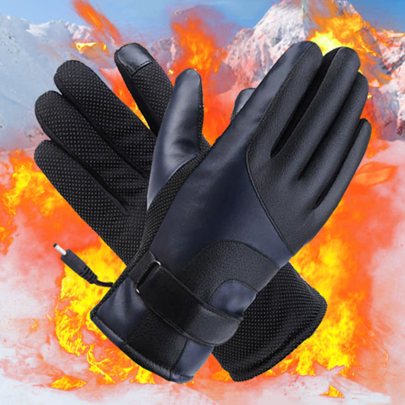 heated gloves with fire at the backdrop
