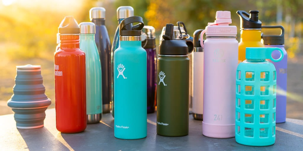bunch of hydro flasks