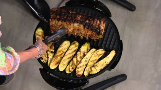grilling on an open countertop grill