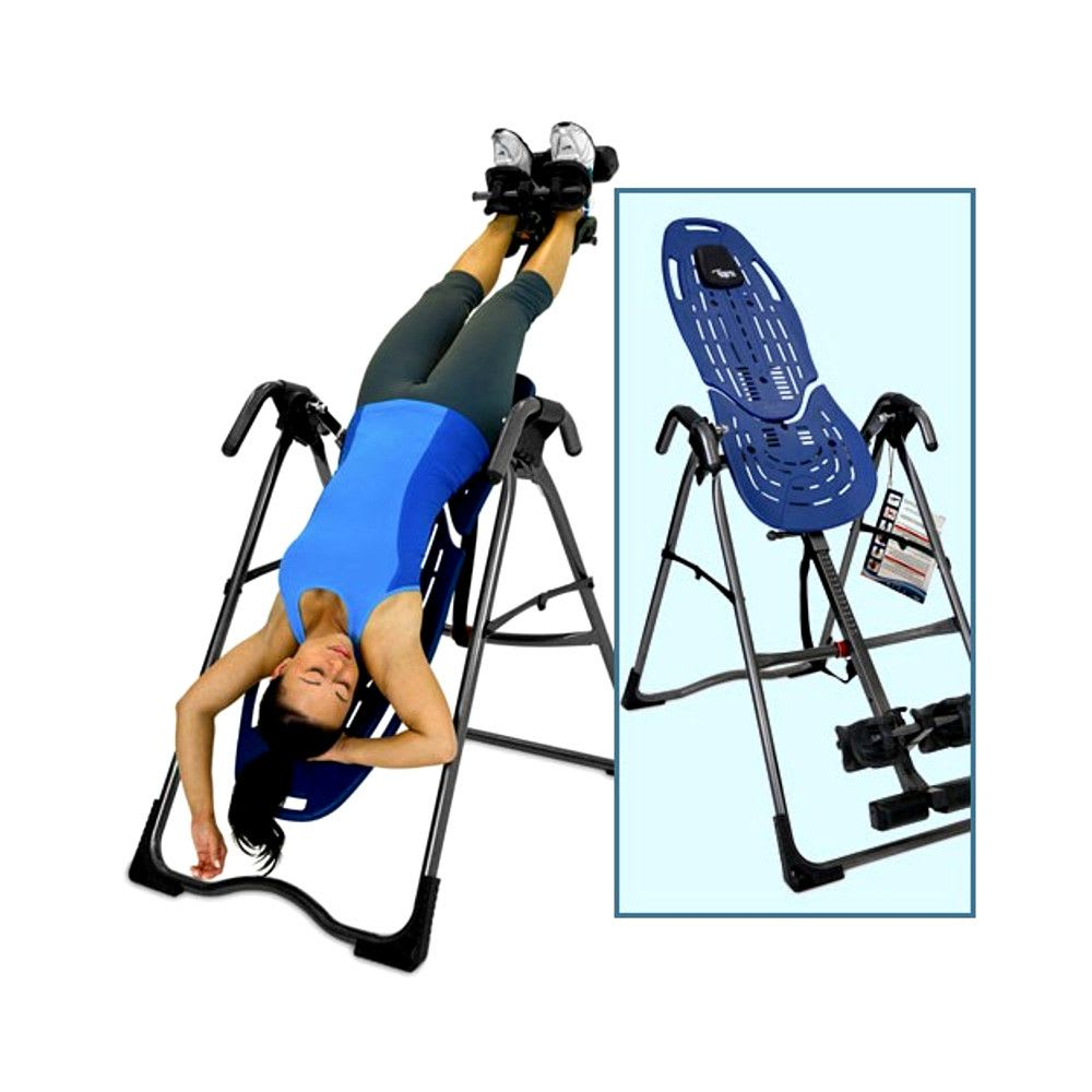 woman on an inversion table