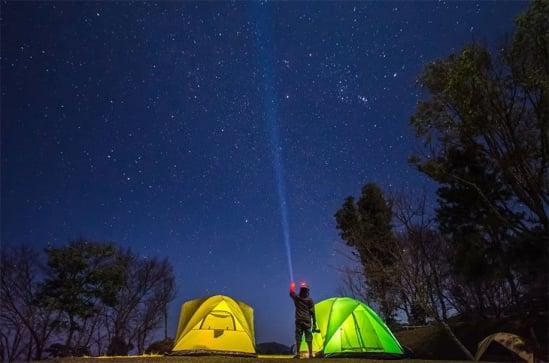 man on campsite