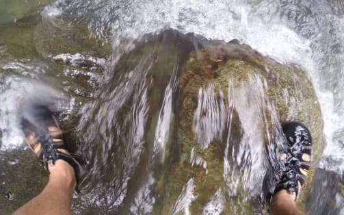 sandals on waterfalls
