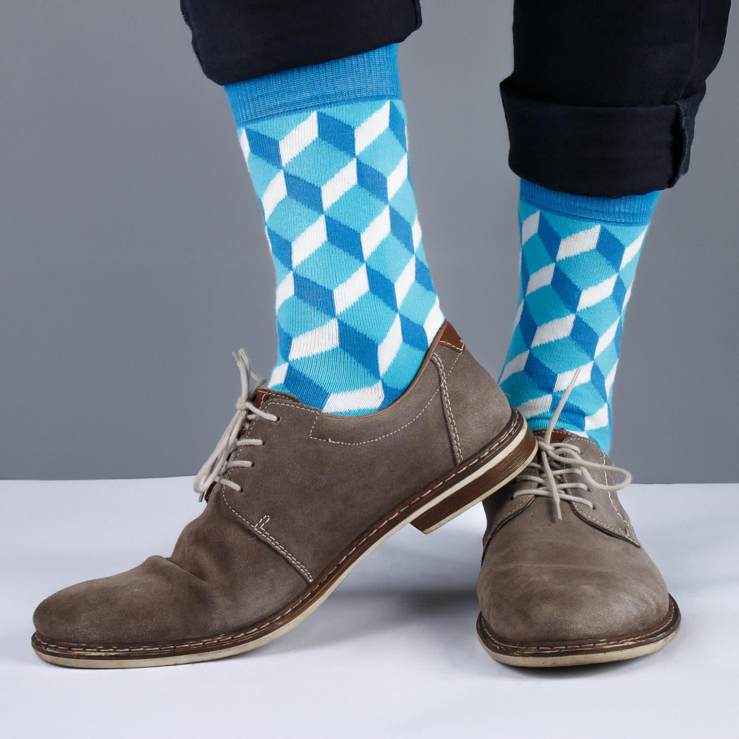 socks with blue and white pattern