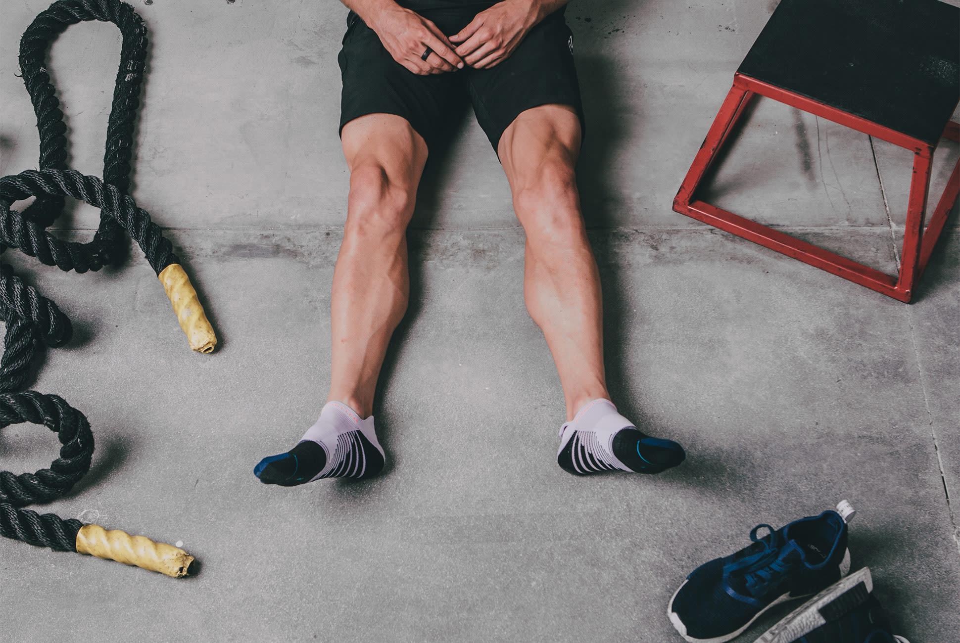 man wearing an ankle socks on fitness training