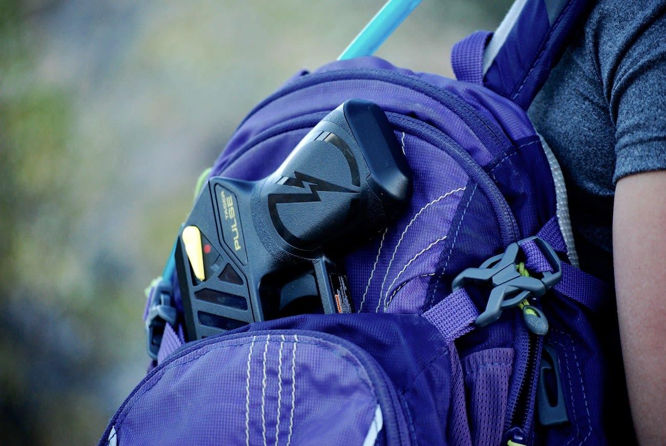 stun gun inside a backpack