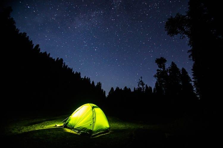 single-wall tent at night