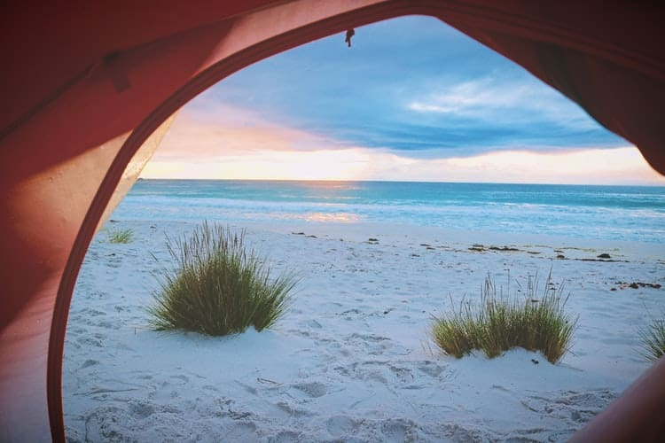 camping tent on a sand