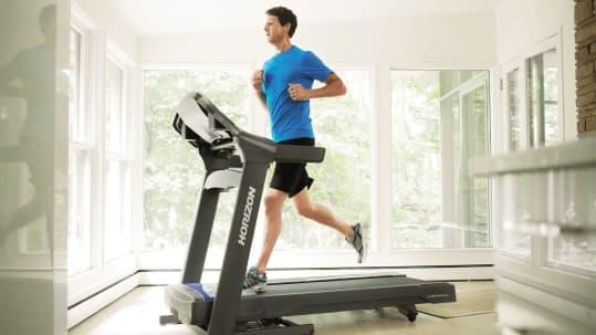 man running on a treadmill