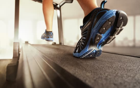 running shoes on a treadmill