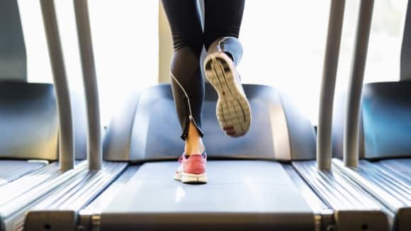 lady on a treadmill
