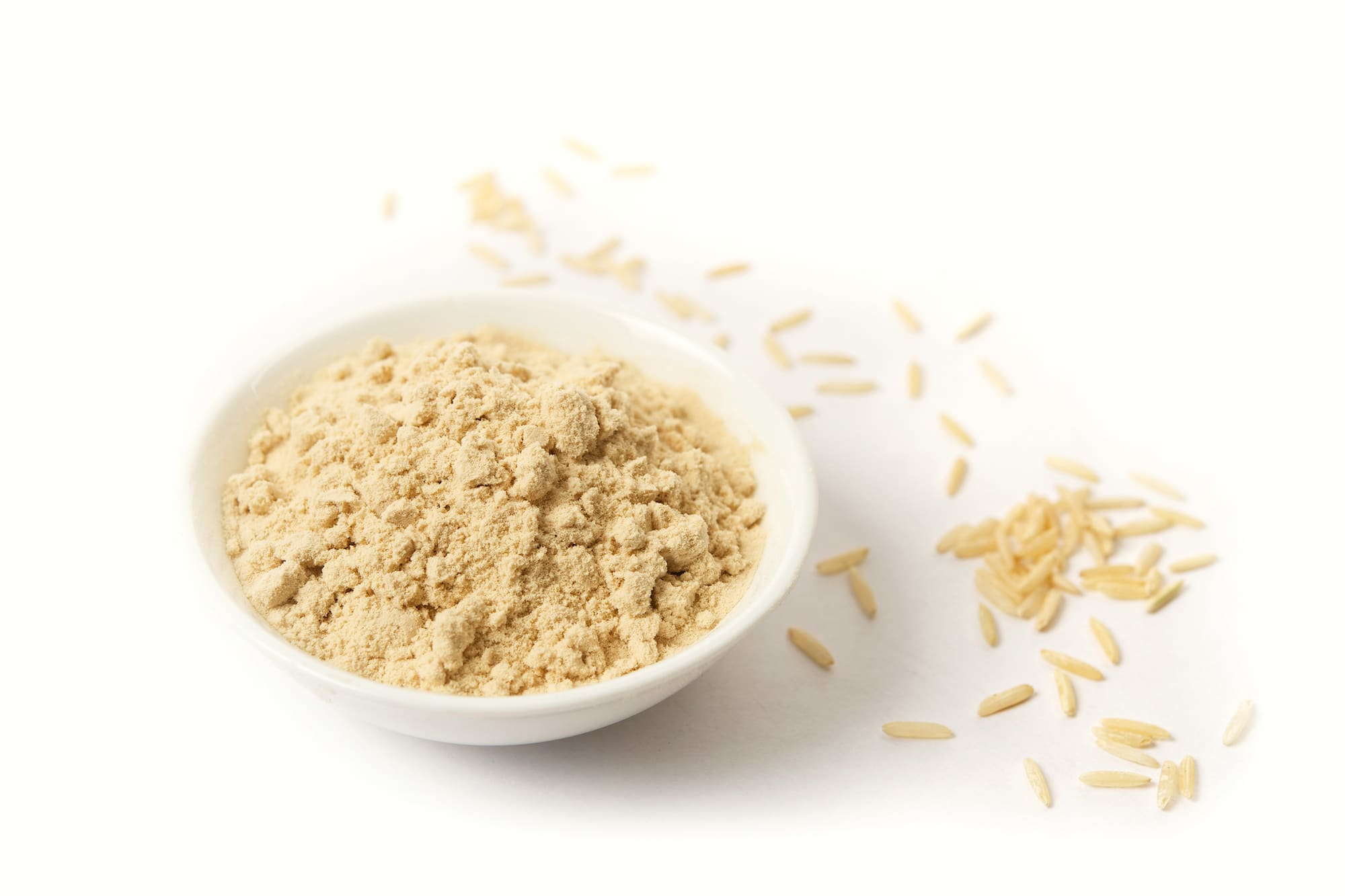 bowl of brown rice protein powder