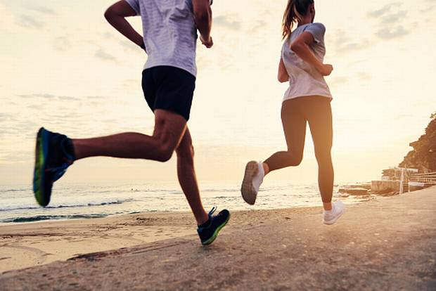 Man and woman on a run